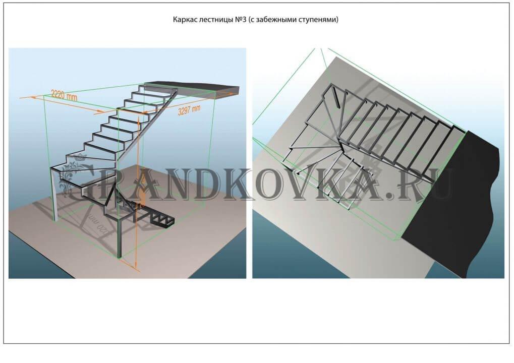 Модель лестницы на металлокаркасе ЭЛМК-3