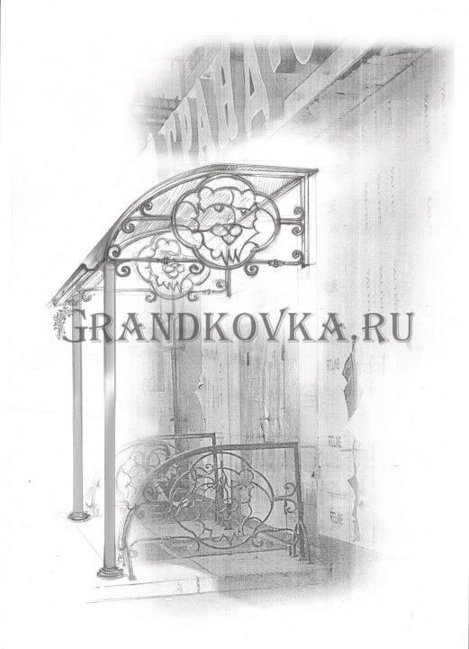 Вариант козырька над входом в магазин ЭВХМ-9